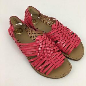Tory Burch Anya Huarache Pink Woven Sandals